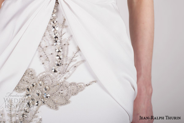 jean ralph thurin bridal spring 2015 renata stapless wedding dress crystal detail close up