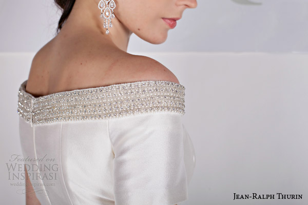 jean ralph thurin bridal spring 2015 rosana off shoulder short wedding dress detail close up
