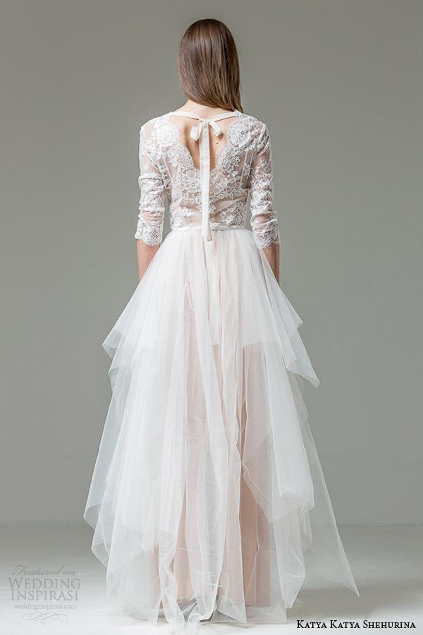 katya katya shehurina 2015 bridal patrizia blush wedding dress sleeves back view