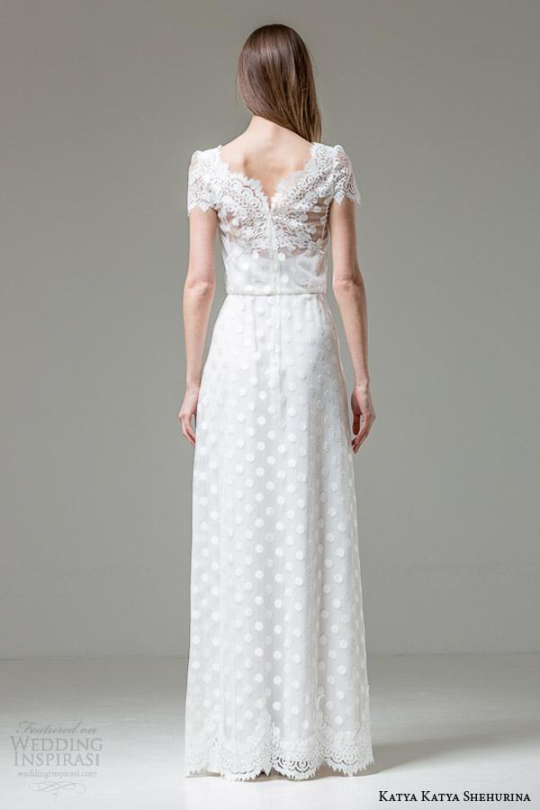katya katya shehurina bridal 2014 2015 feather alessia short sleeve wedding dress back