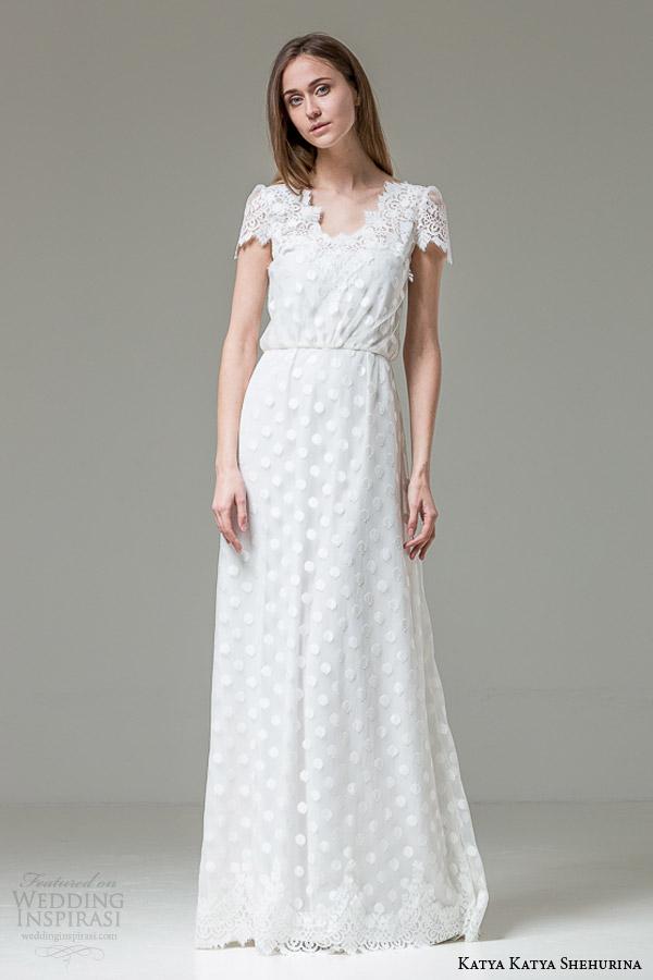 katya katya shehurina bridal 2014 2015 feather alessia short sleeve wedding dress