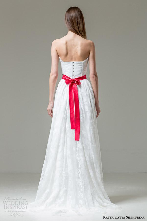 katya katya shehurina bridal 2014 2015 feather collection irene strapless wedding dress back view