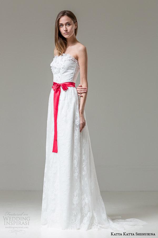 katya katya shehurina bridal 2014 2015 feather collection irene strapless wedding dress