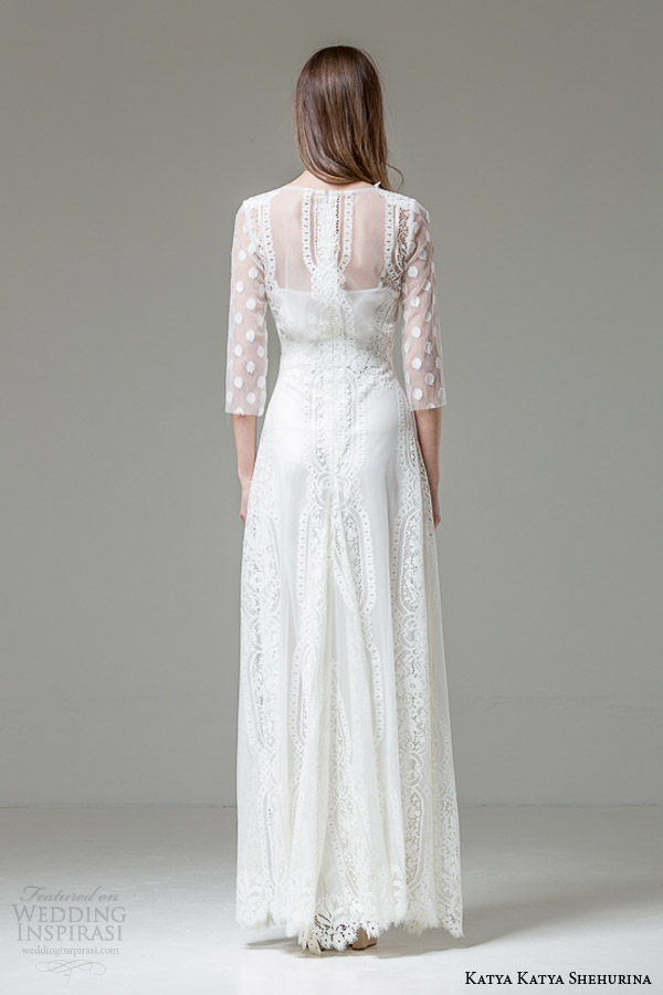 katya katya shehurina bridal 2014 2015 feather emilia illusion long sleeve wedding dress back view