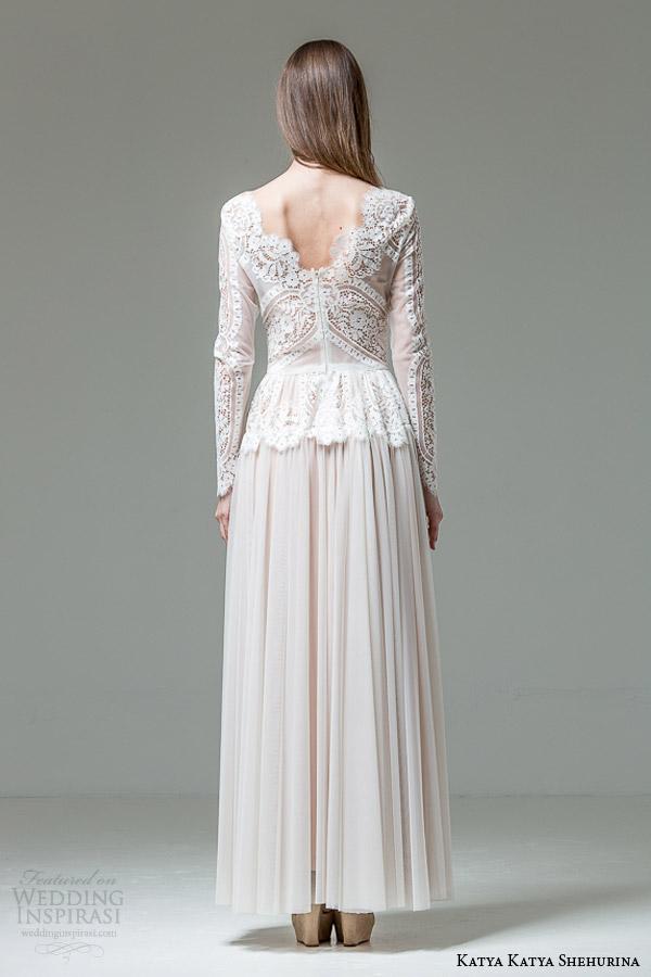 katya katya shehurina bridal 2014 2015 feather liliana long sleeve wedding dress back view