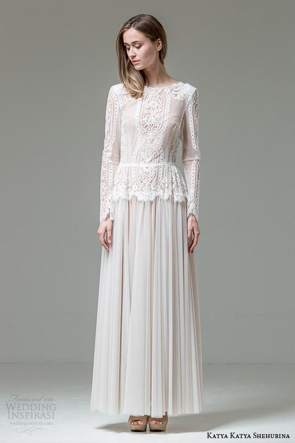 katya katya shehurina bridal 2014 2015 feather liliana long sleeve wedding dress