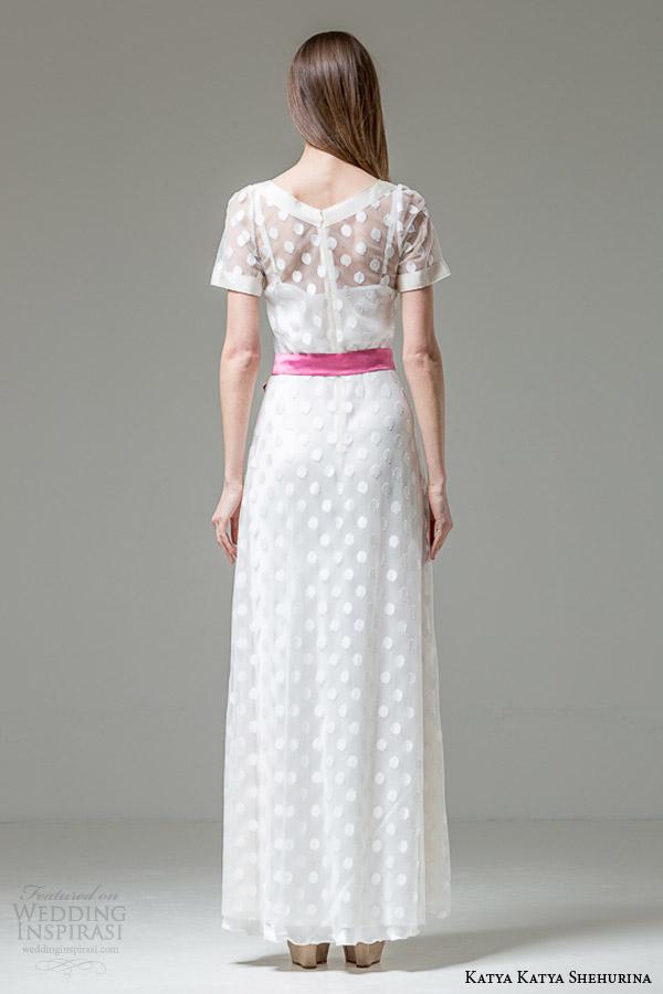 katya katya shehurina bridal 2014 2015 feather monalisa short sleeve wedding dress colored sash back