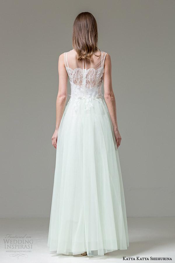 katya katya shehurina bridal 2014 2015 feather sabrina sleeveless wedding dress mint green skirt back view