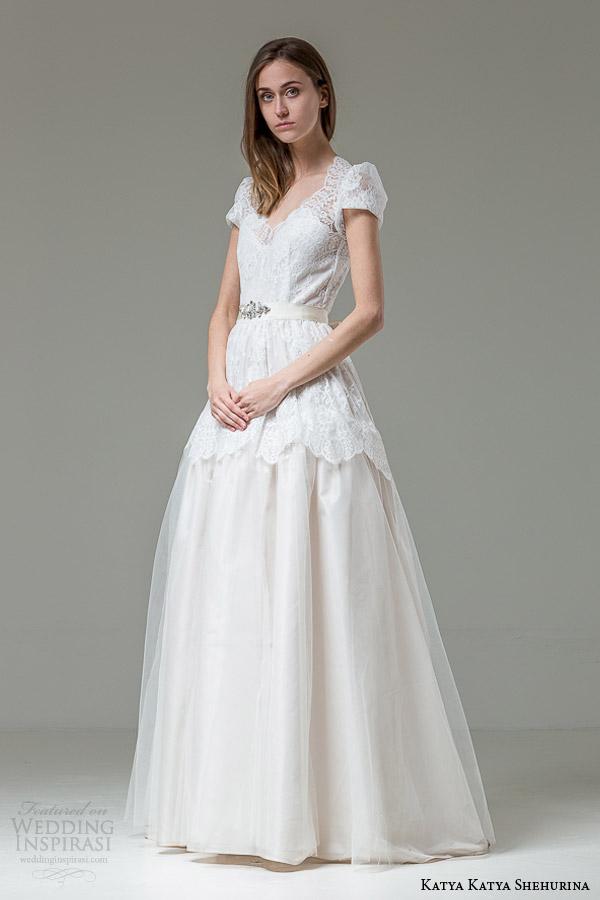 Katya katya shehurina wedding dresses feather bridal for Puff sleeve wedding dress