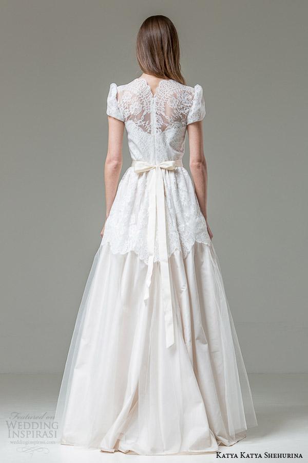 katya katya shehurina bridal 2015 romana ball gown wedding dress short puff sleeves back view
