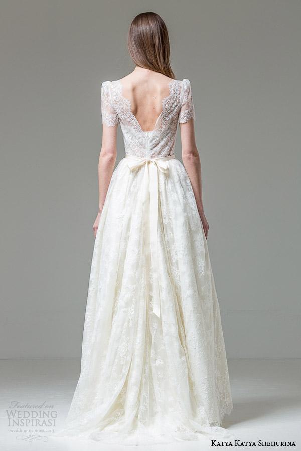katya katya shehurina bridal paola short sleeve high neck lace wedding dress back