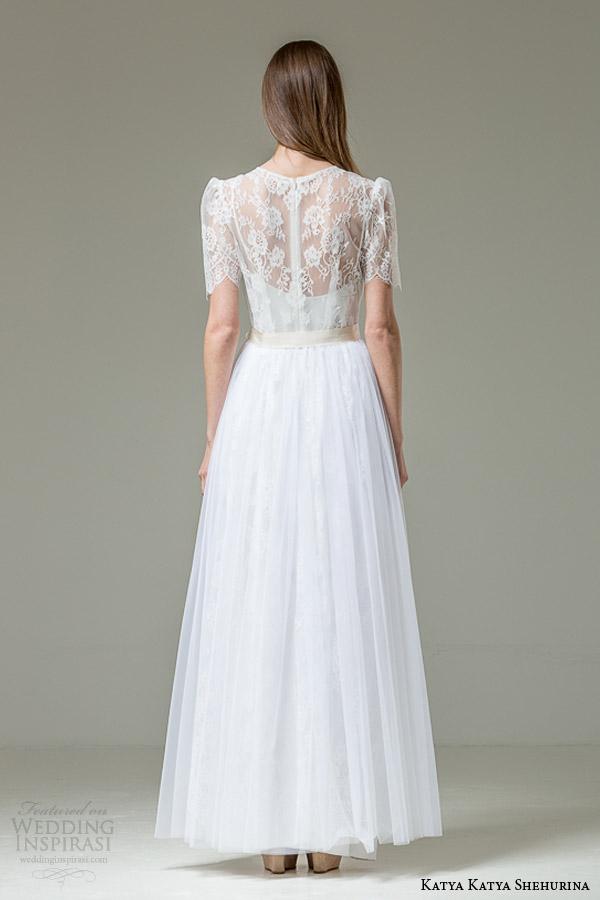 katya katya shehurina feather bridal collection carlita lace short sleeve wedding dress back view