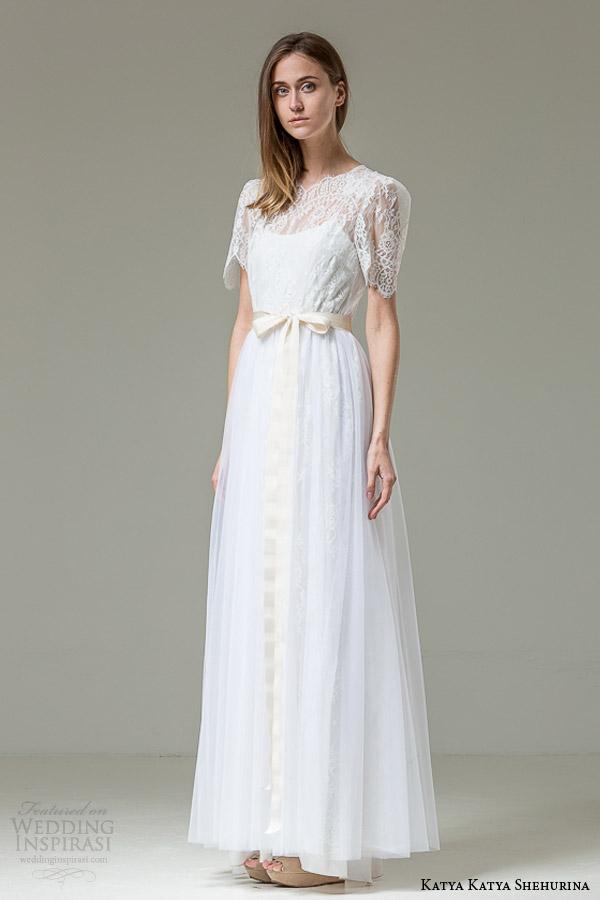 katya katya shehurina feather bridal collection carlita lace short sleeve wedding dress