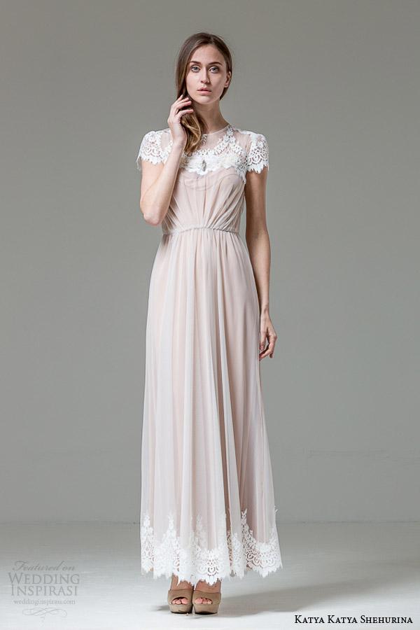 katya katya shehurina feather collection verdi latte colored short sleeve wedding dress