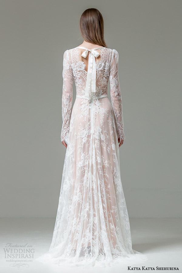 katya katya shehurina floriana long sleeve lace wedding dress back view bow