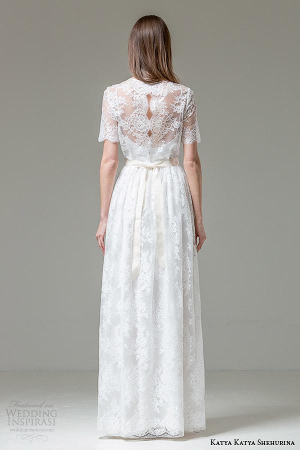 katya katya shehurina ilaria illusion neckline short sleeve wedding dress back view