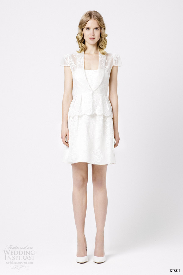 kisui 2015 palaila roza cap sleeve short wedding dress