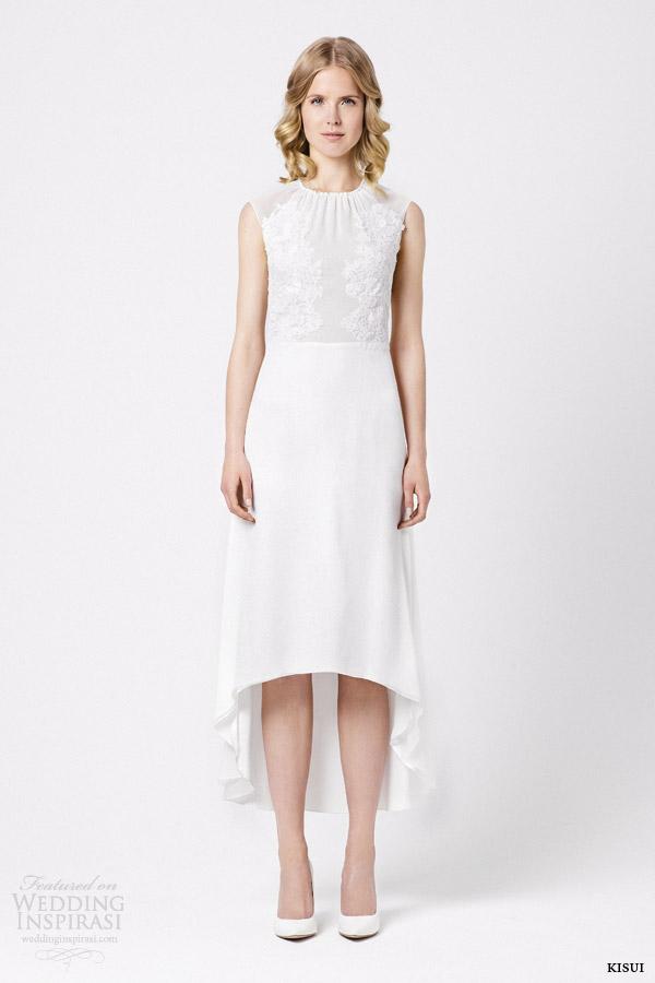kisui bridal 2015 clivia sleeveless wedding dress high to low skirt