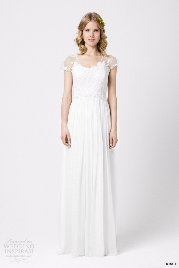 kisui bridal 2015 dahlia wedding dress illusion cap sleeves