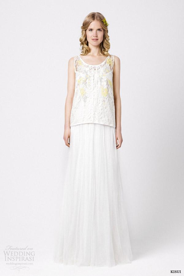 kisui bridal 2015 dorisa malva sleeveless wedding dress colored lace