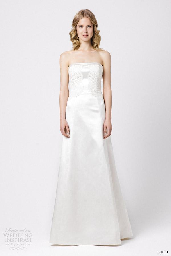 kisui bridal 2015 fiorina strapless wedding dress lace accents on bodice