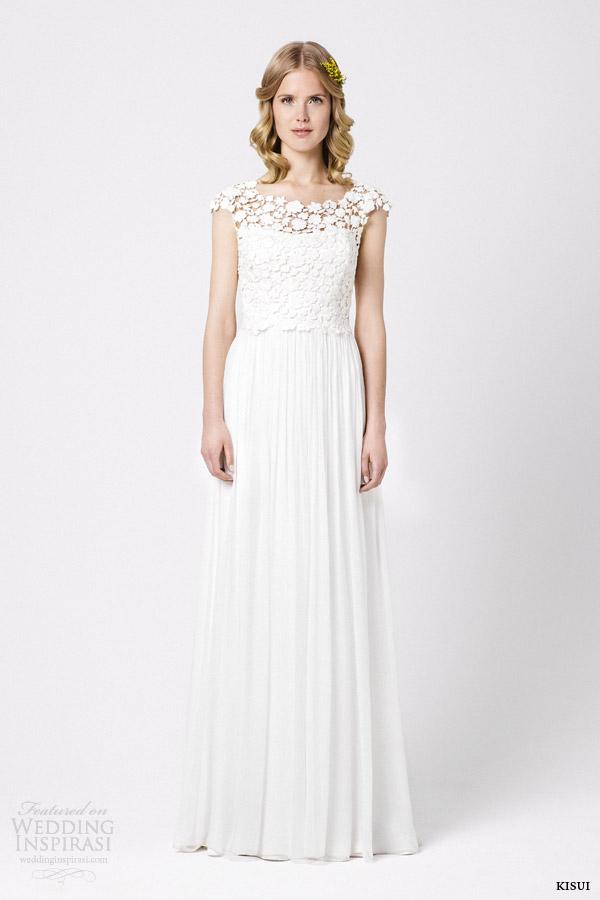 kisui bridal 2015 lidelia cap sleeve wedding dress floral bodice draped skirt