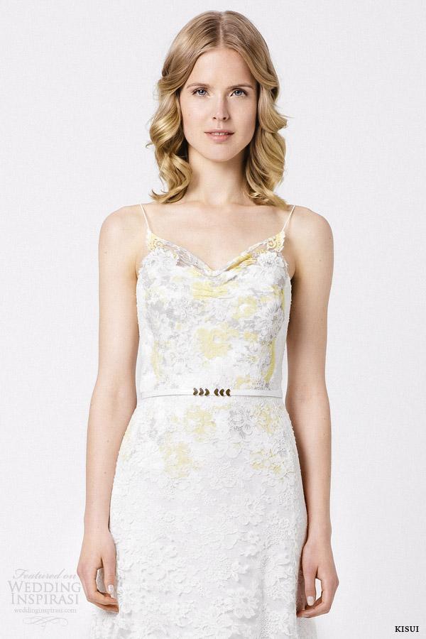 kisui bridal 2015 soley wedding dress colored lace close up bodice