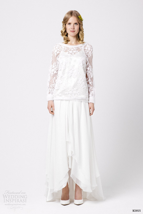 kisui wedding dresses 2015 scilla gown with ipomee lace bridal pullover
