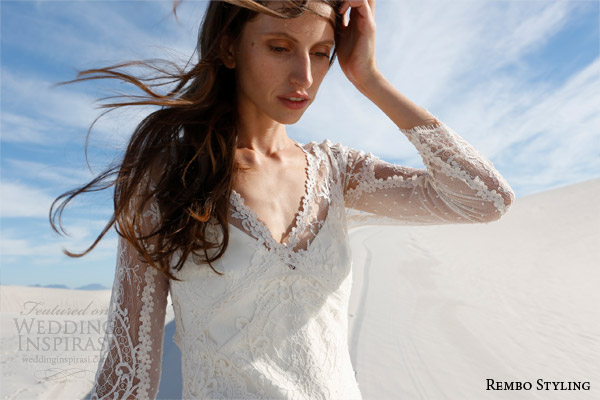 rembo styling bridal 2015 imma v neck wedding dress long illusion sleeves