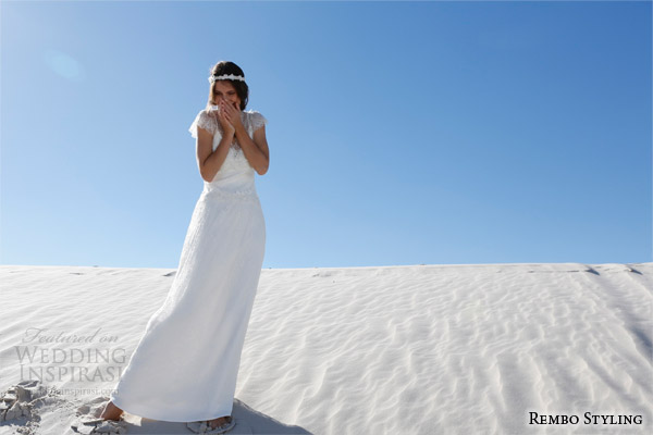 rembo styling bridal 2015 yaelle wedding dress illusion v neckline cap sleeves