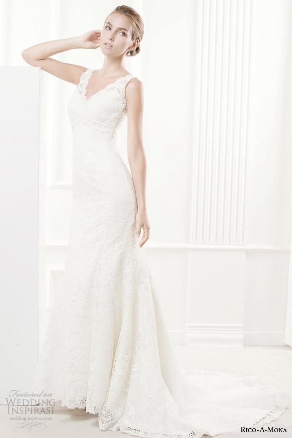 rico a mona 2014 demure collection sleeveless wedding dress