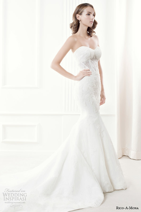 rico a mona 2014 demure collection strapless wedding dress