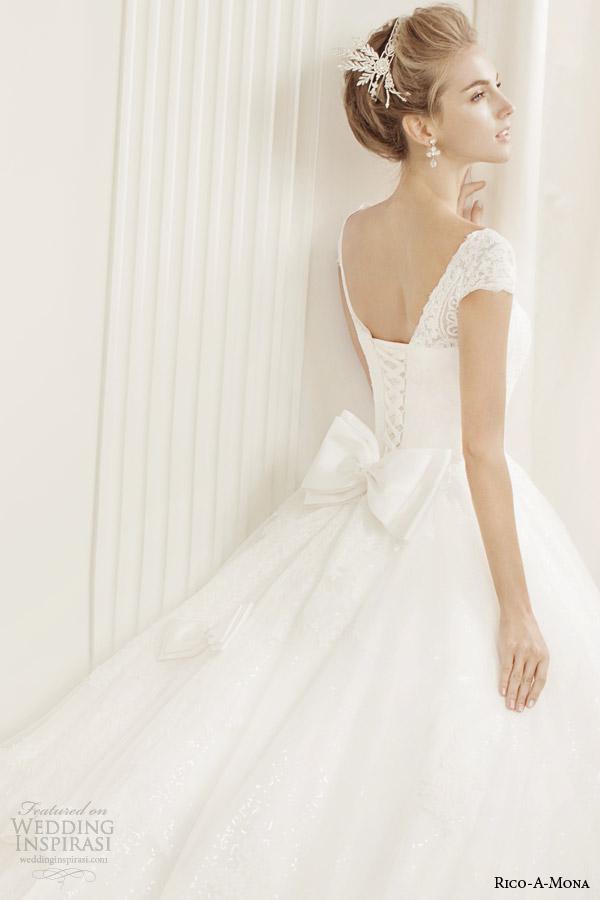 rico a mona bridal demure cap sleeve ball gown wedding dress bow back