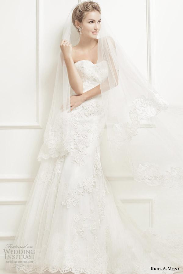 rico a mona bridal strapless sweetheart lace wedding dress