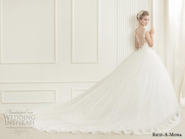 rico a mona demure wedding dress with illusion neckline back view full train