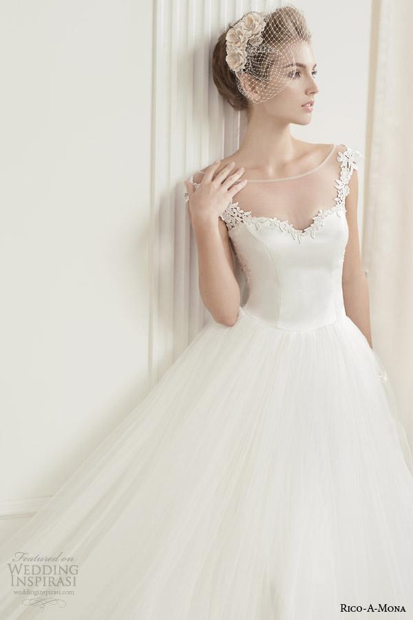 rico a mona demure wedding dress with illusion neckline