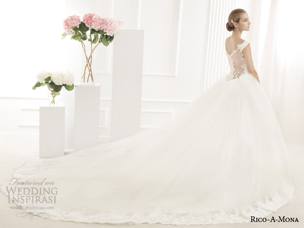 rico a mona off the shoulder wedding dress ball gown illusion back view train