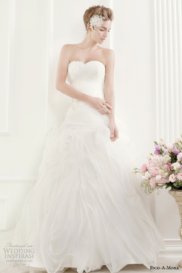 rico a mona strapless wedding dress with flange skirt