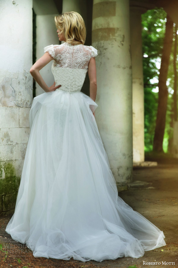 roberto motti 2015 carolina wedding dress gathered skirt lace bodice sleeves back view