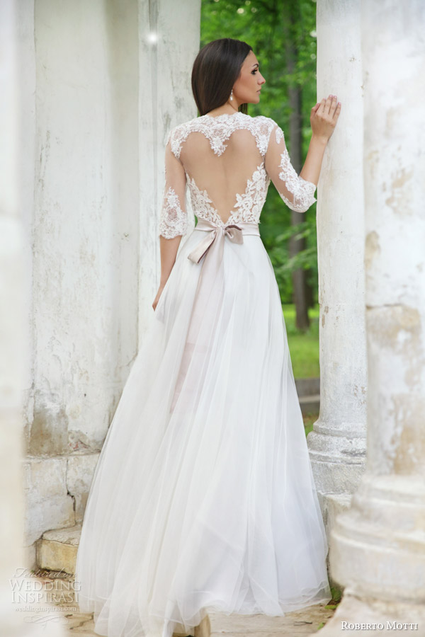 roberto motti 2015 melissa wedding dress illusion neckline half sleeve heart shaped back