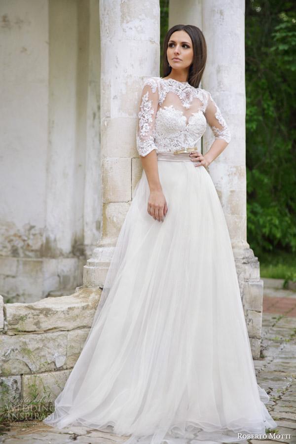 roberto motti 2015 melissa wedding dress illusion neckline half sleeve