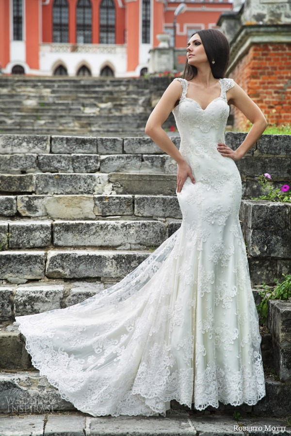 roberto motti 2015 monica cap sleeve mermaid wedding dress lace