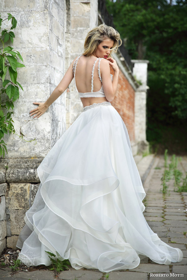 roberto motti bridal 2015 adel crop top wedding dress ball gown skirt back view