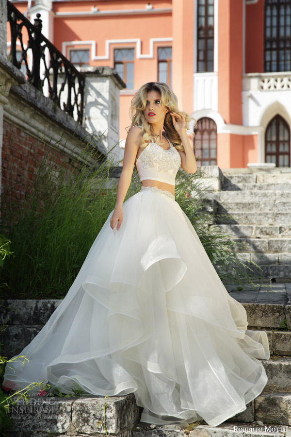Roberto motti 2015 wedding dresses wedding inspirasi for Crop top wedding dress