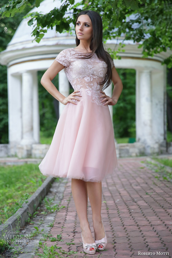 roberto motti bridal 2015 donatella cap sleeve pink short wedding dress