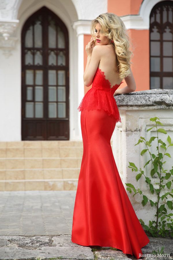 roberto motti bridal 2015 donna strapless red wedding dress with lace peplum back view