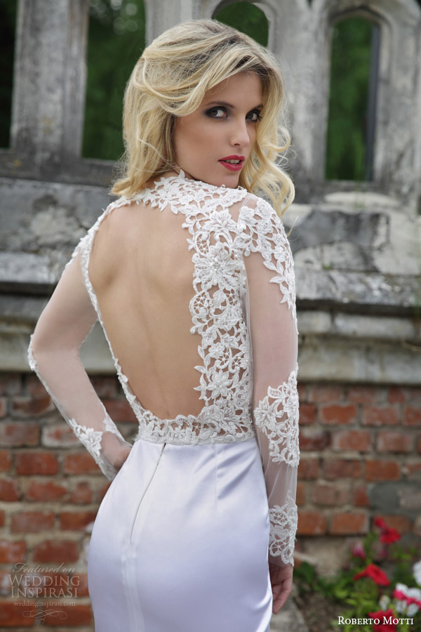 roberto motti bridal 2015 isabella short wedding dress illusion long sleeves open back view