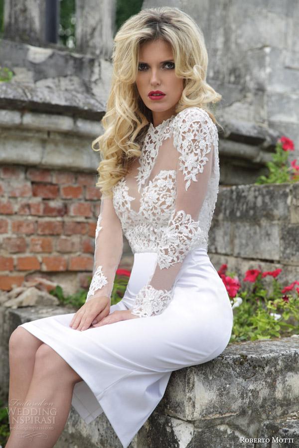 roberto motti bridal 2015 isabella short wedding dress illusion long sleeves