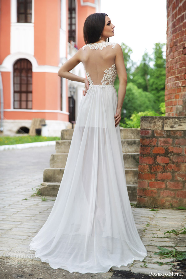 roberto motti bridal 2015 rafaella sleeveless short wedding dress long sheer overskirt illusion back view