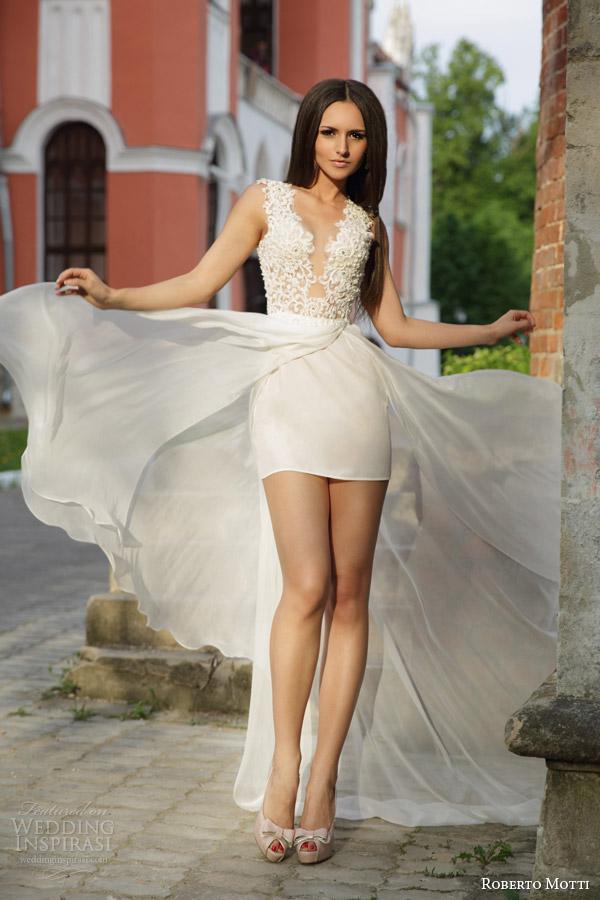 roberto motti bridal 2015 rafaella sleeveless short wedding dress long sheer overskirt